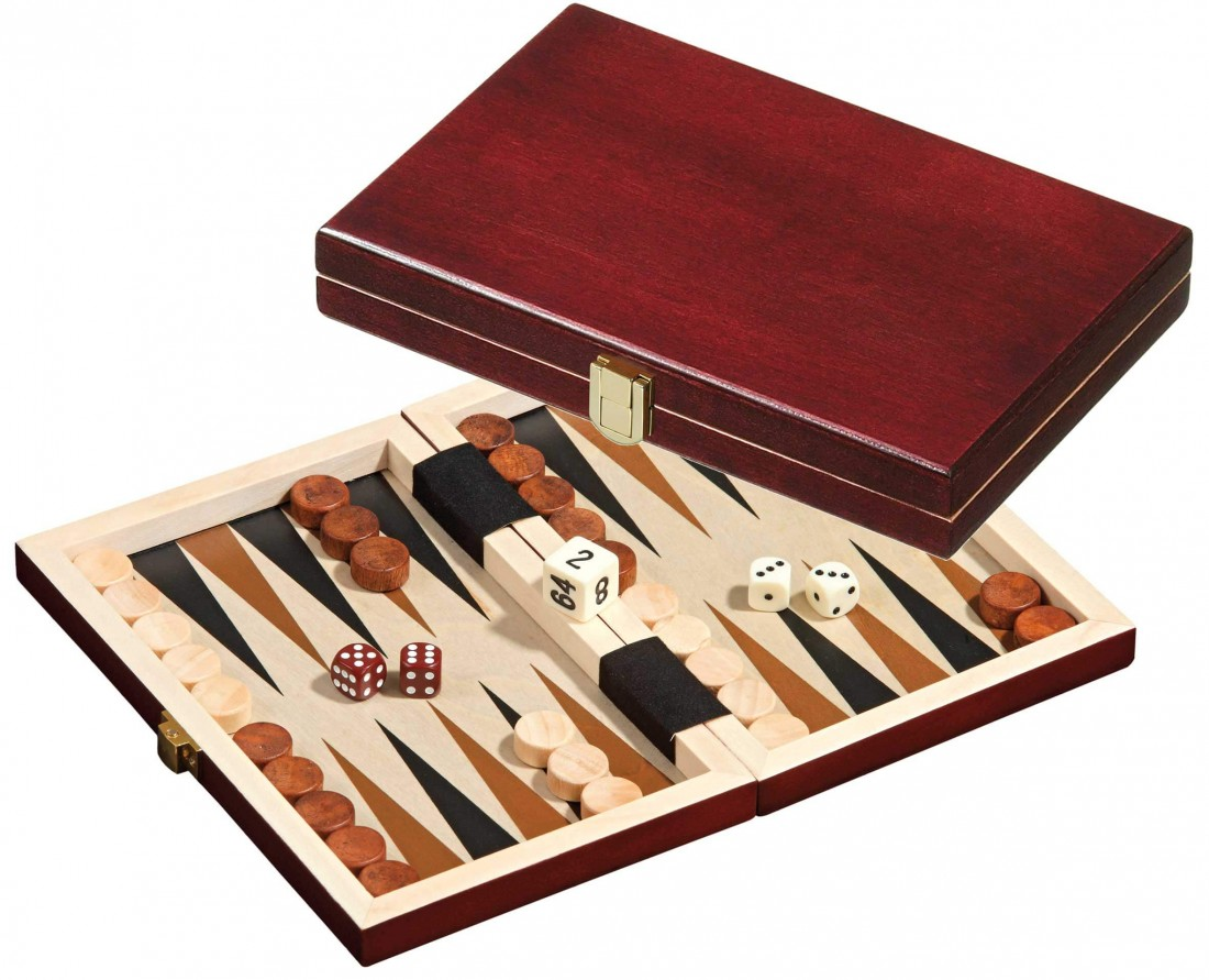 Backgammon mini dř. mahagon